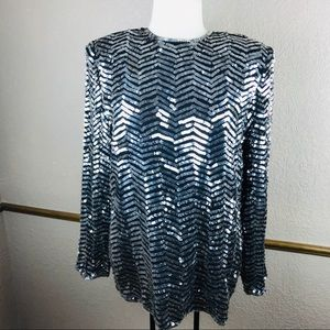 Valerie Stevens womens silver sequin evening top